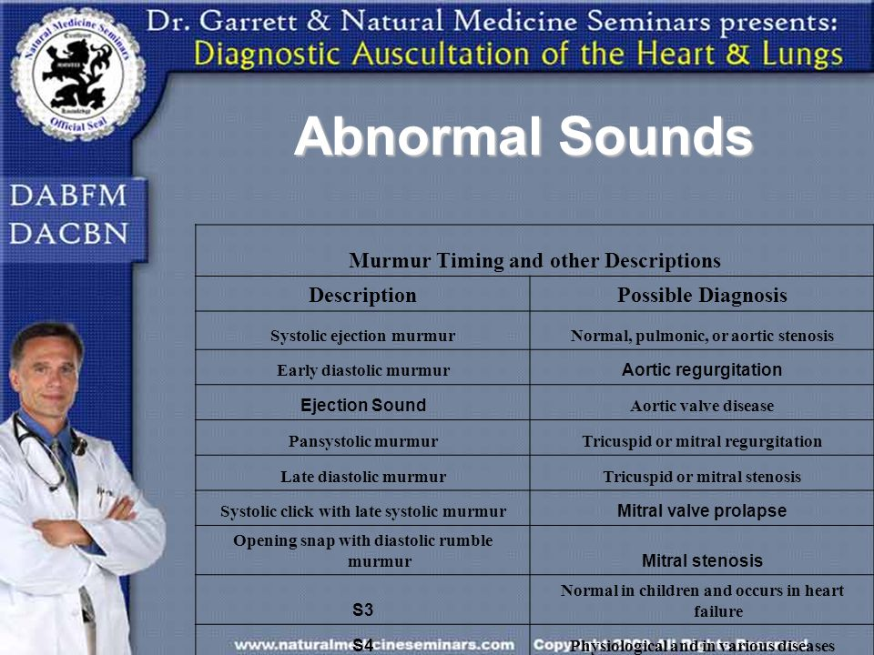 Abnormal Sounds Murmur Timing and other Descriptions DescriptionPossible Diagnosis Systolic ejection murmurNormal, pulmonic, or aortic stenosis Early