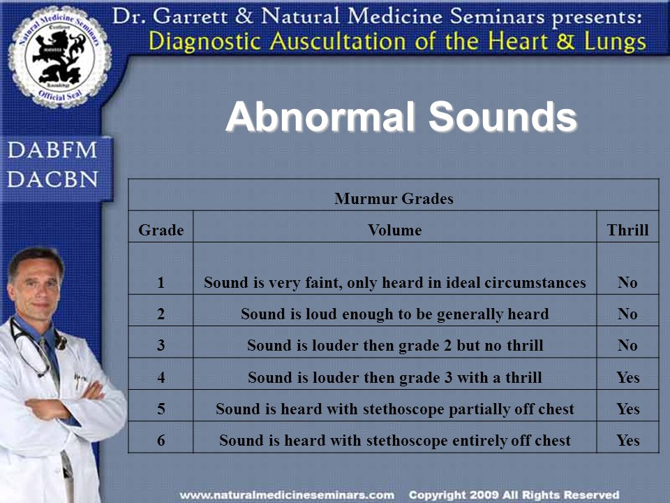 Murmur Grades GradeVolumeThrill 1Sound is very faint, only heard in ideal circumstancesNo 2Sound is loud enough to be generally heardNo 3Sound is loud
