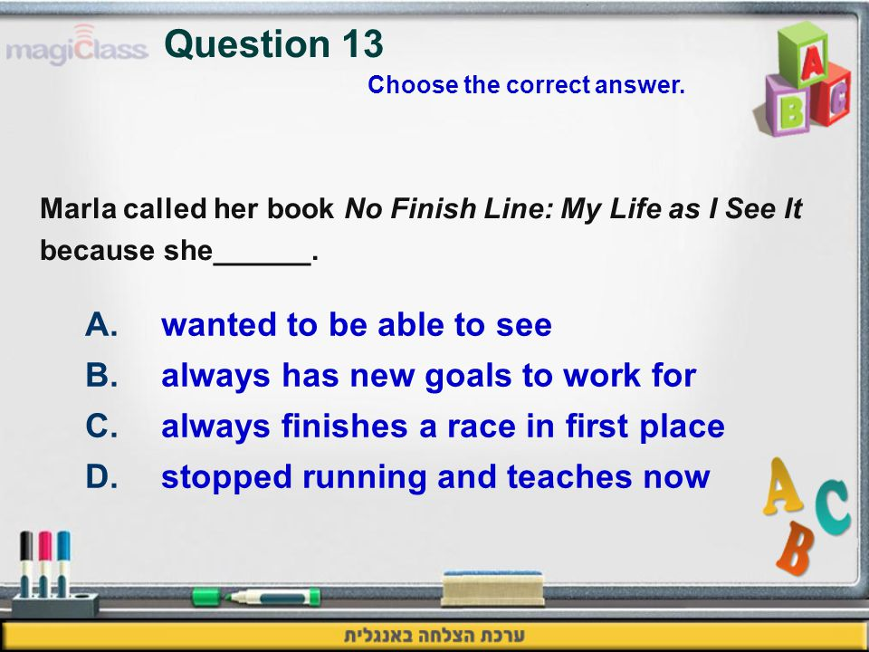 Marla called her book No Finish Line: My Life as I See It because she______.