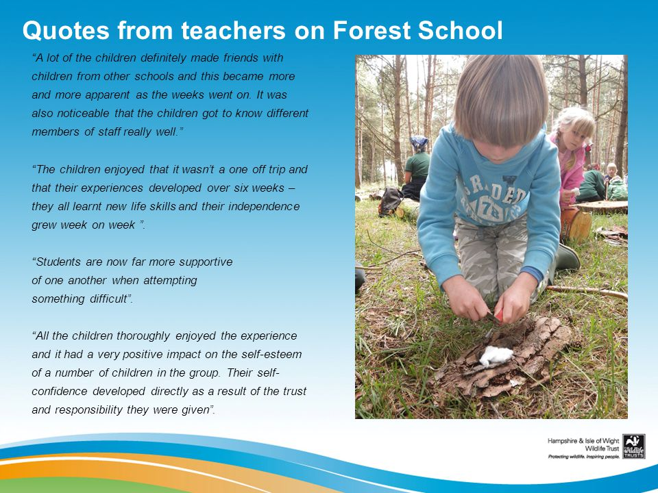 Quotes from teachers on Forest School A lot of the children definitely made friends with children from other schools and this became more and more apparent as the weeks went on.