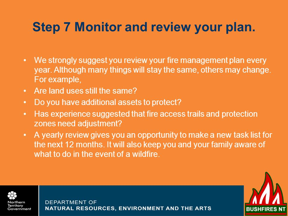 Step 7 Monitor and review your plan.