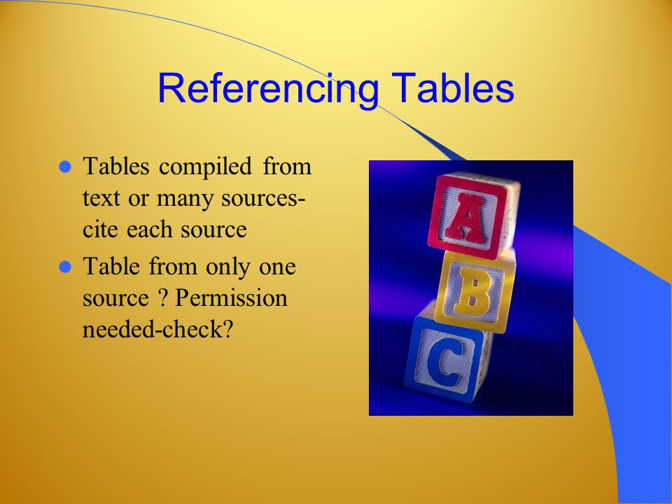 Referencing Tables Tables compiled from text or many sources- cite each source Table from only one source .