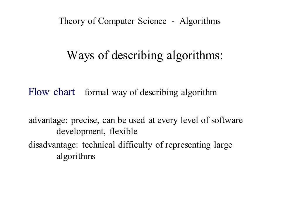 Theory of Computer Science - Algorithms Ways of describing algorithms: Flow chart formal way of describing algorithm advantage: precise, can be used a