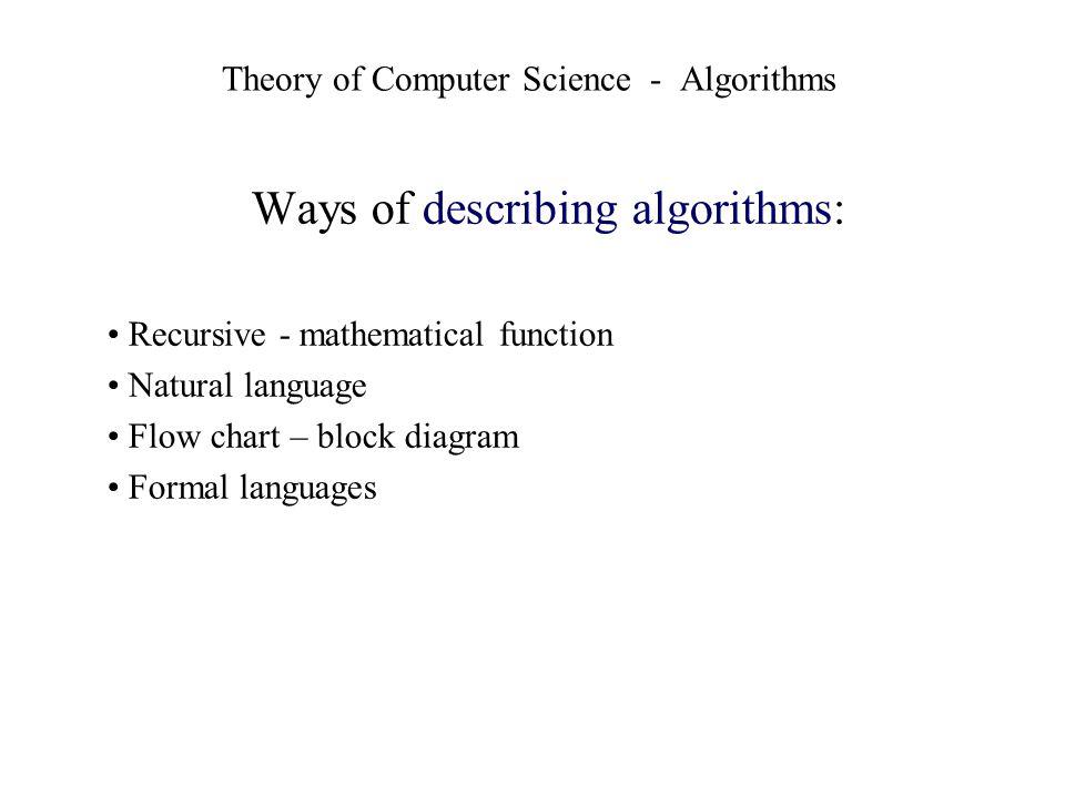 Theory of Computer Science - Algorithms Ways of describing algorithms: Recursive - mathematical function Natural language Flow chart – block diagram F