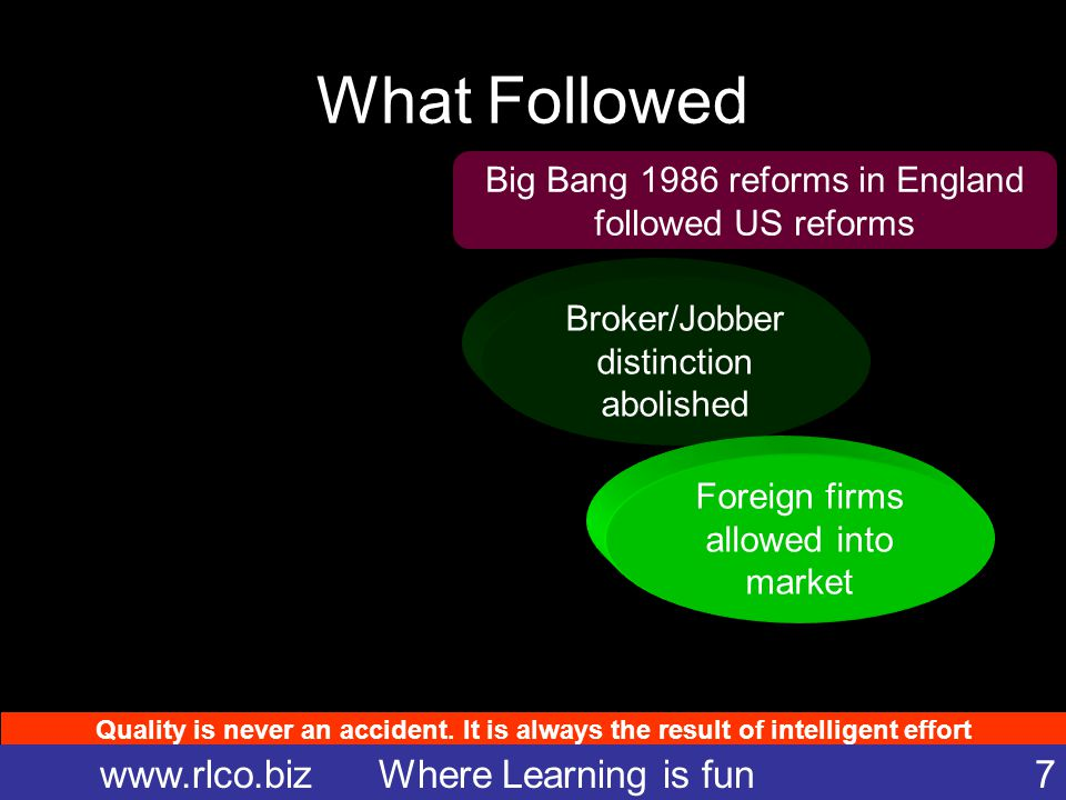 Quality is never an accident. It is always the result of intelligent effort www.rlco.biz Where Learning is fun 7 What Followed Big Bang 1986 reforms i