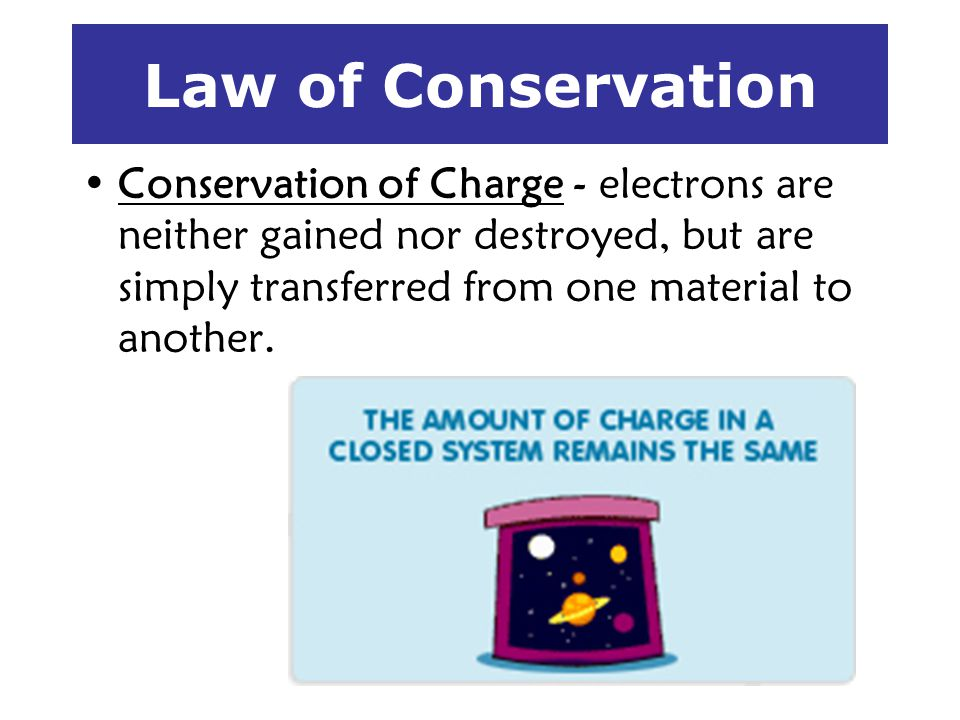 Law of Conservation Conservation of Charge - electrons are neither gained nor destroyed, but are simply transferred from one material to another.