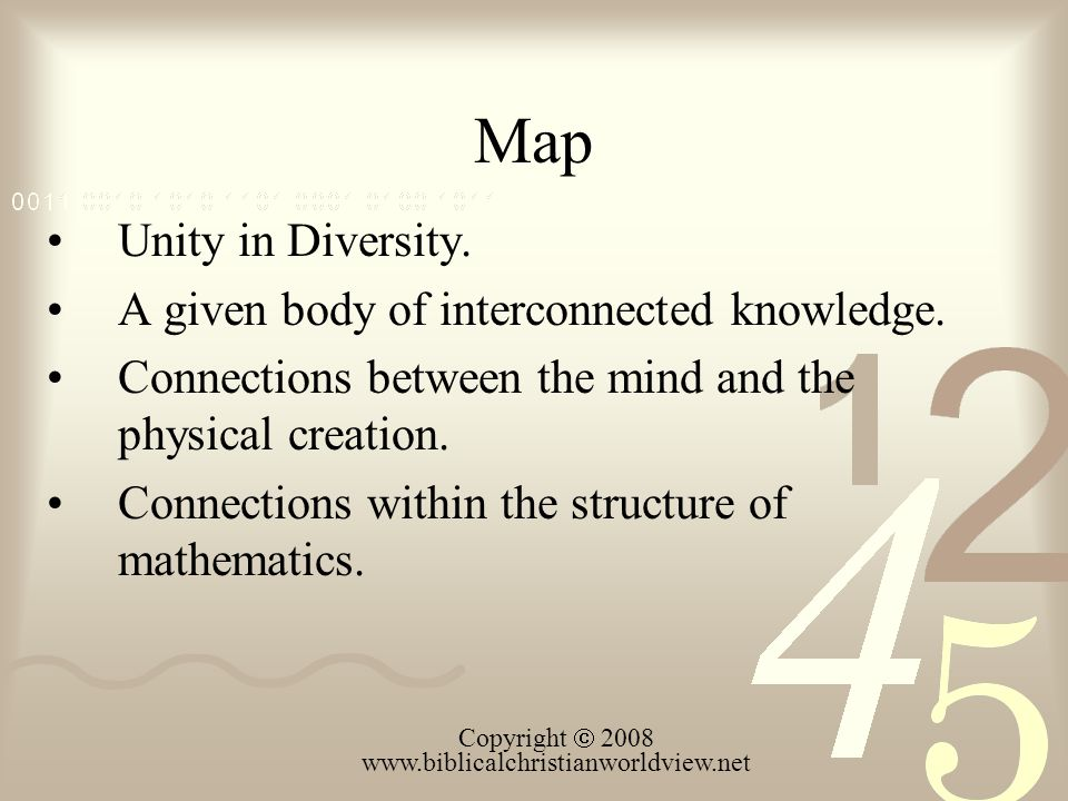 Map Unity in Diversity. A given body of interconnected knowledge.