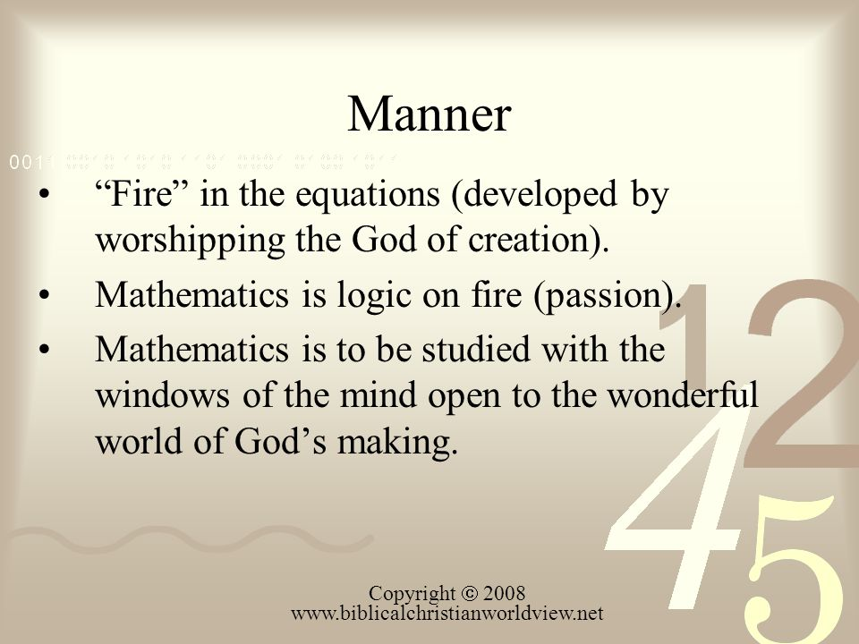 Manner Fire in the equations (developed by worshipping the God of creation).