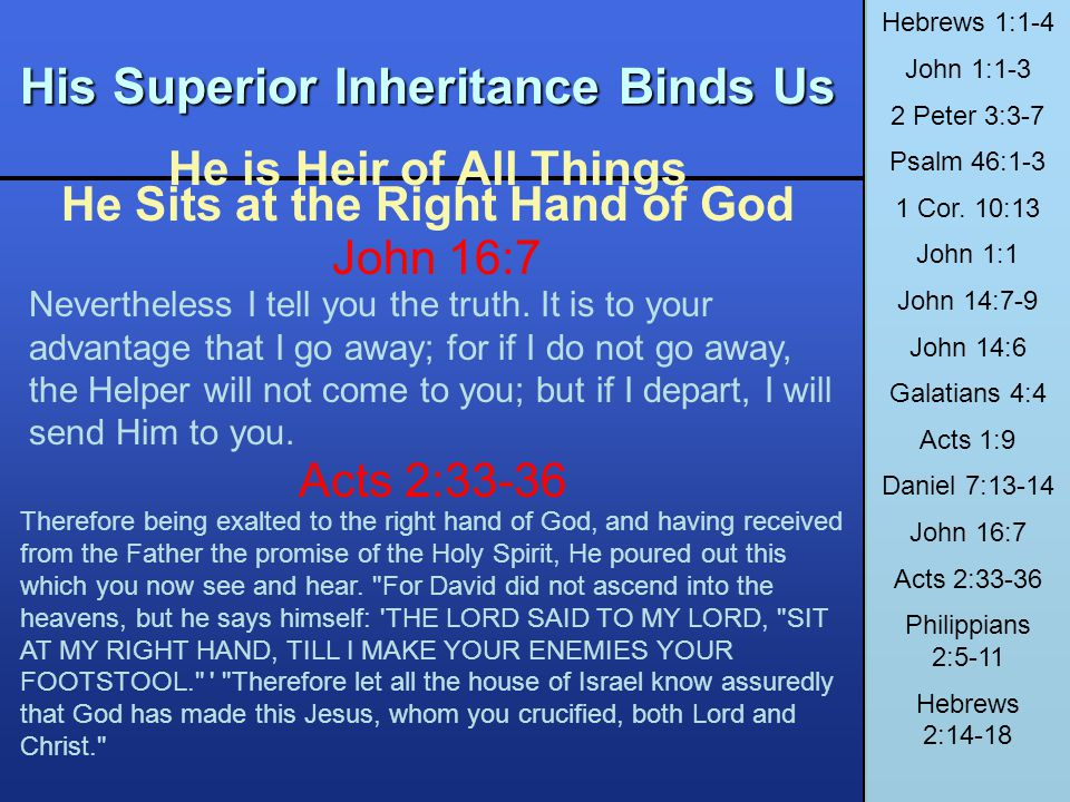 His Superior Inheritance Binds Us He is Heir of All Things He Sits at the Right Hand of God Hebrews 1:1-4 John 1:1-3 2 Peter 3:3-7 Psalm 46:1-3 1 Cor.