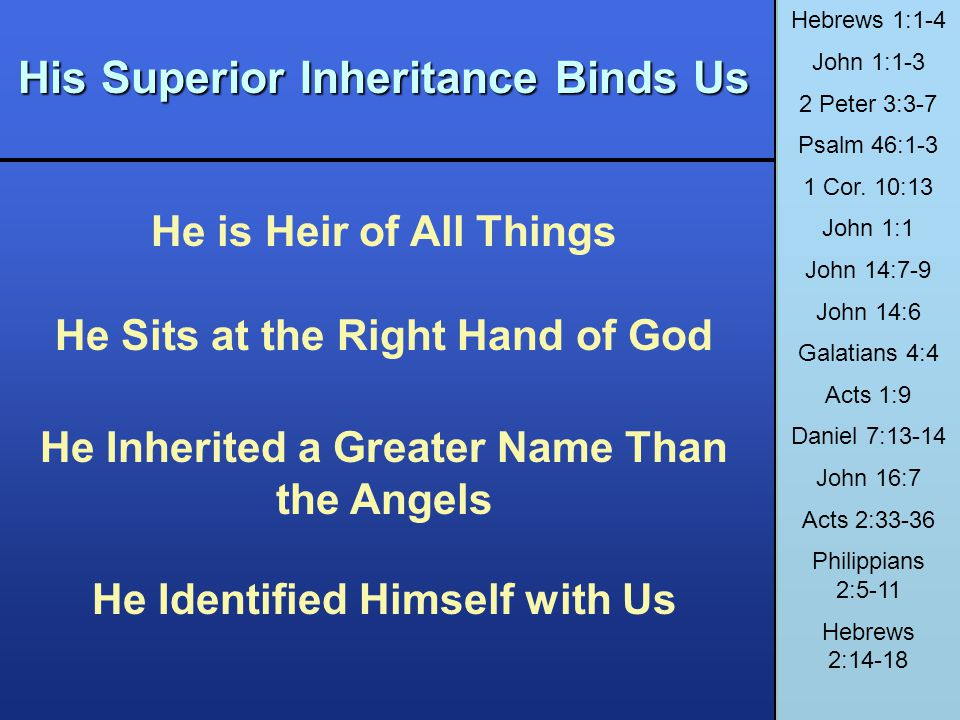 His Superior Inheritance Binds Us He is Heir of All Things He Sits at the Right Hand of God He Inherited a Greater Name Than the Angels He Identified
