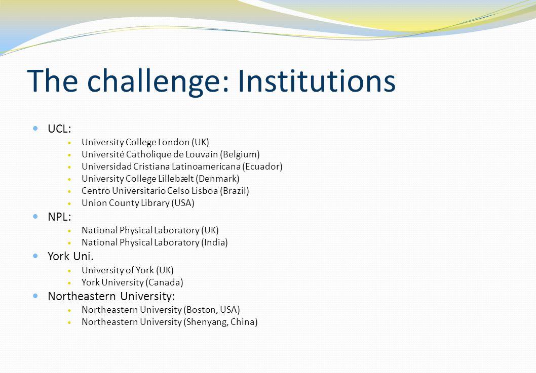 The challenge: Institutions UCL: University College London (UK) Université Catholique de Louvain (Belgium) Universidad Cristiana Latinoamericana (Ecua