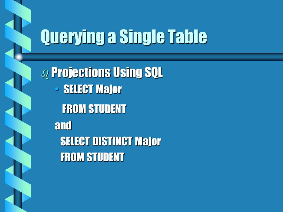 Querying a Single Table b Projections Using SQL SELECT MajorSELECT Major FROM STUDENT FROM STUDENTand SELECT DISTINCT Major SELECT DISTINCT Major FROM STUDENT FROM STUDENT