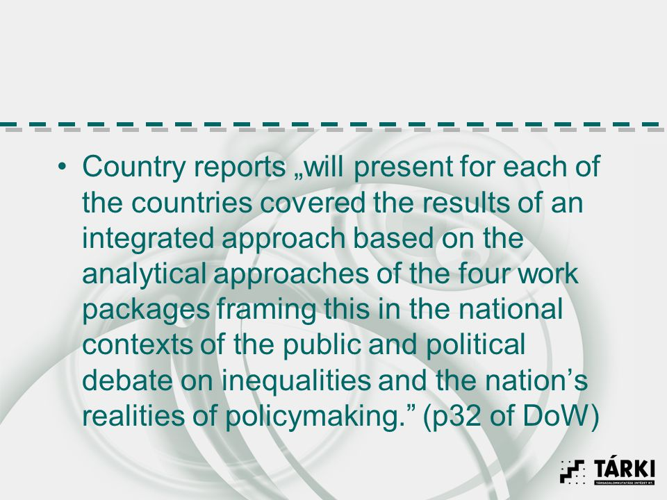 Country reports will present for each of the countries covered the results of an integrated approach based on the analytical approaches of the four wo