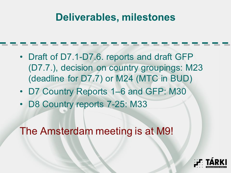 Deliverables, milestones Draft of D7.1-D7.6. reports and draft GFP (D7.7.), decision on country groupings: M23 (deadline for D7.7) or M24 (MTC in BUD)