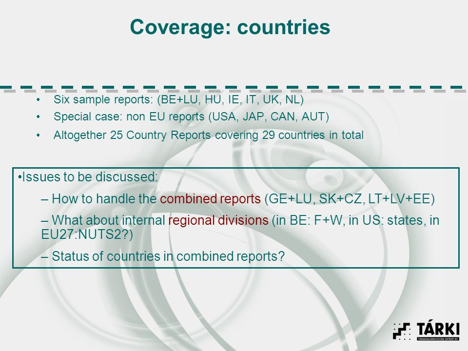 Coverage: countries Six sample reports: (BE+LU, HU, IE, IT, UK, NL) Special case: non EU reports (USA, JAP, CAN, AUT) Altogether 25 Country Reports co