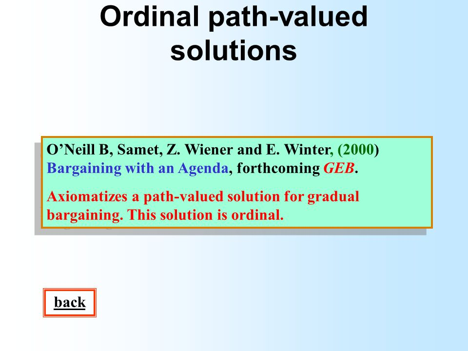 Ordinal path-valued solutions ONeill B, Samet, Z.Wiener and E.