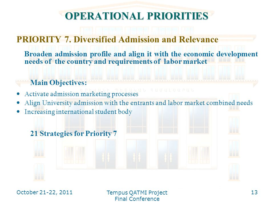 OPERATIONAL PRIORITIES PRIORITY 7. Diversified Admission and Relevance Broaden admission profile and align it with the economic development needs of t