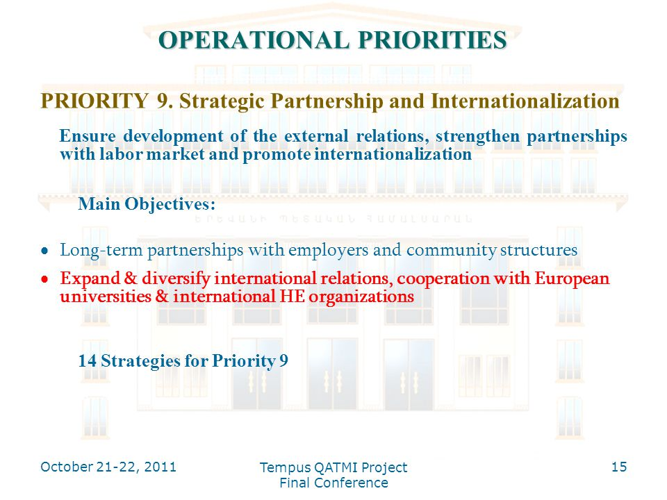 OPERATIONAL PRIORITIES PRIORITY 9. Strategic Partnership and Internationalization Ensure development of the external relations, strengthen partnership