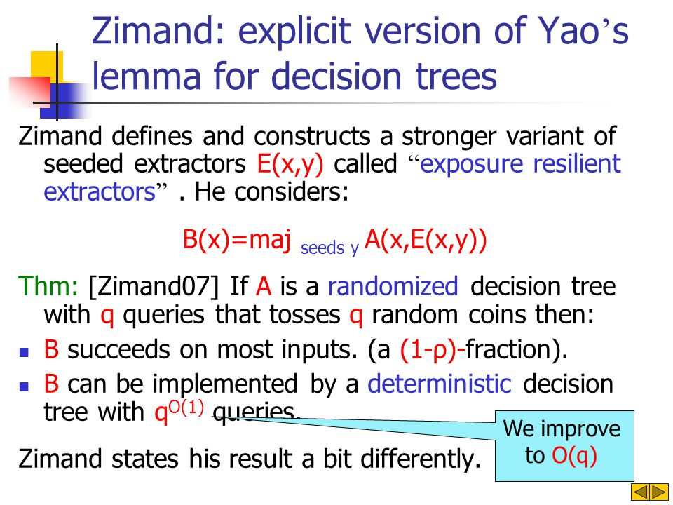 Zimand: explicit version of Yao s lemma for decision trees Zimand defines and constructs a stronger variant of seeded extractors E(x,y) called exposure resilient extractors.