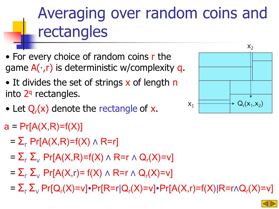 Averaging over random coins and rectangles a = Pr[A(X,R)=f(X)] = Σ r Pr[A(X,R)=f(X) R=r] = Σ r Σ v Pr[A(X,R)=f(X) R=r Q r (X)=v] = Σ r Σ v Pr[A(X,r)=