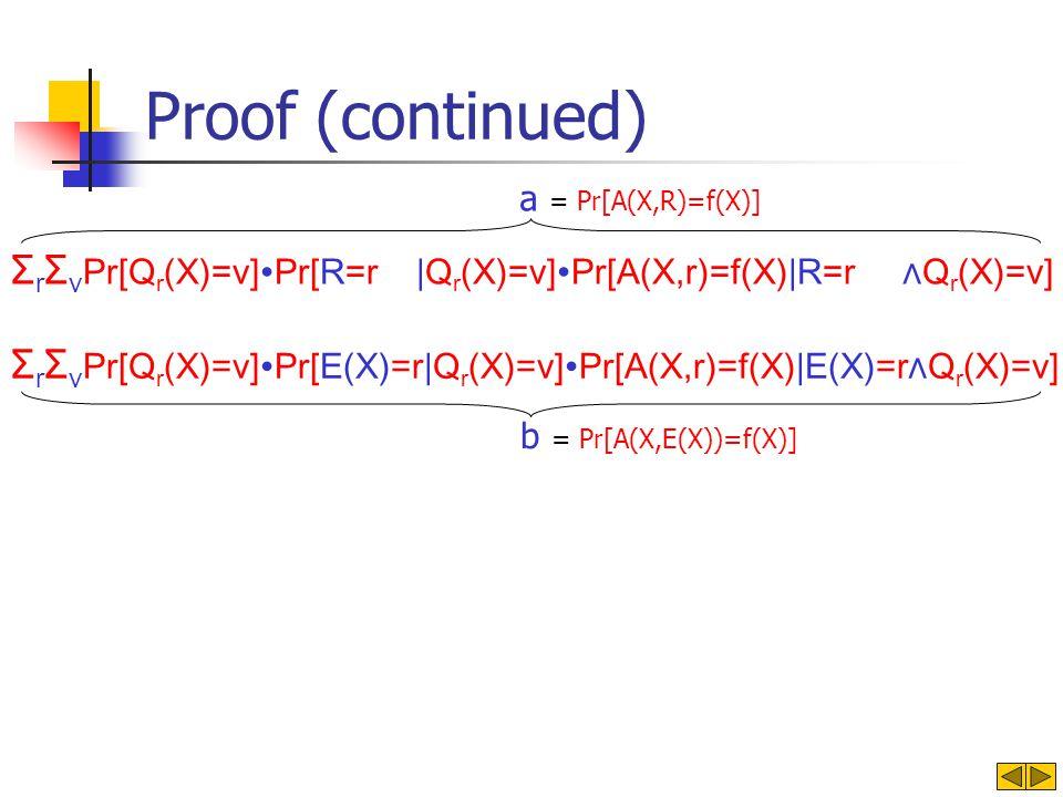 b = Pr[A(X,E(X))=f(X)] Proof (continued) Σ r Σ v Pr[Q r (X)=v]Pr[E(X)=r|Q r (X)=v]Pr[A(X,r)=f(X)|E(X)=rQ r (X)=v] Σ r Σ v Pr[Q r (X)=v]Pr[R=r |Q r (X)