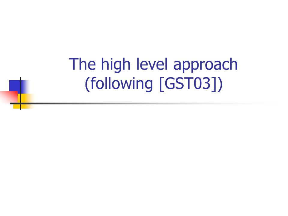 The high level approach (following [GST03])