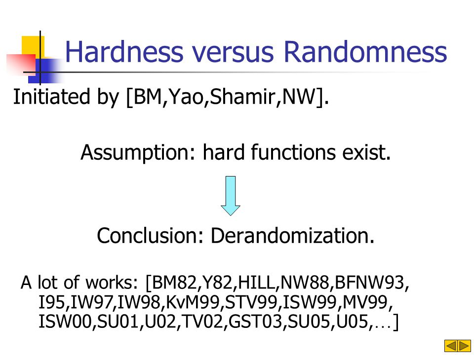 Hardness versus Randomness Initiated by [BM,Yao,Shamir,NW].