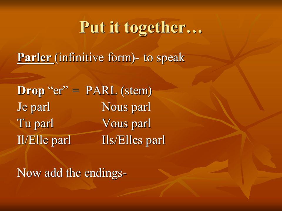 Put it together… Parler (infinitive form)- to speak Drop er = PARL (stem) Je parlNous parl Tu parlVous parl Il/Elle parlIls/Elles parl Now add the end