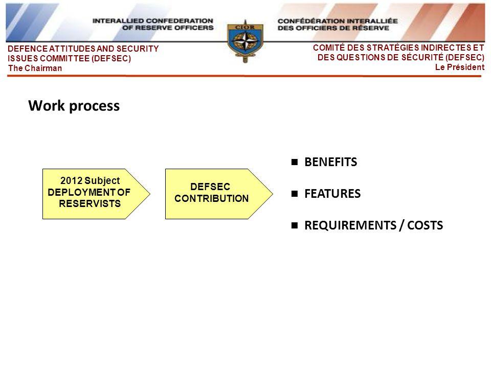 DEFENCE ATTITUDES AND SECURITY ISSUES COMMITTEE (DEFSEC) The Chairman COMITÉ DES STRATÉGIES INDIRECTES ET DES QUESTIONS DE SÉCURITÉ (DEFSEC) Le Président Achievements and work process Results