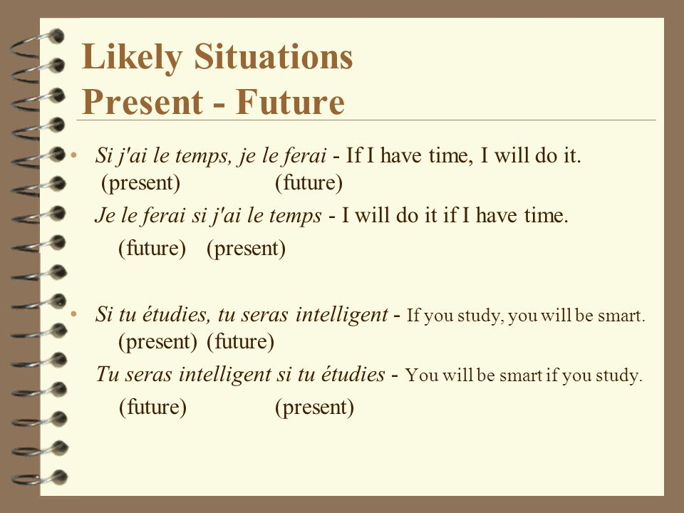 Likely Situations Present - Future Si j ai le temps, je le ferai - If I have time, I will do it.