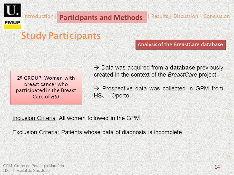 Data was acquired from a database previously created in the context of the BreastCare project Prospective data was collected in GPM from HSJ – Oporto