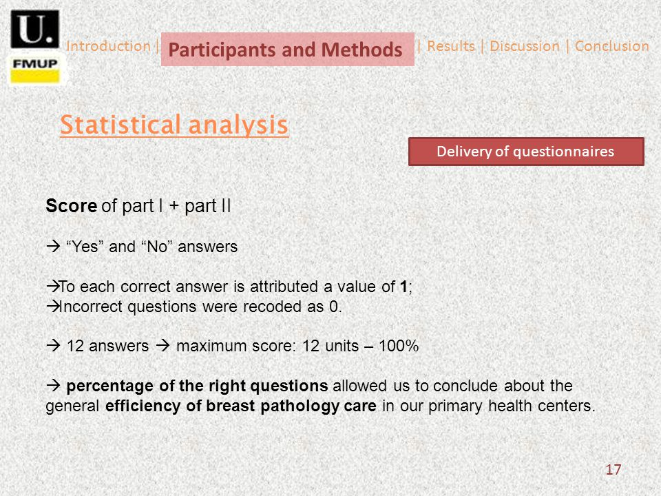 17 Score of part I + part II Yes and No answers To each correct answer is attributed a value of 1; Incorrect questions were recoded as 0. 12 answers m