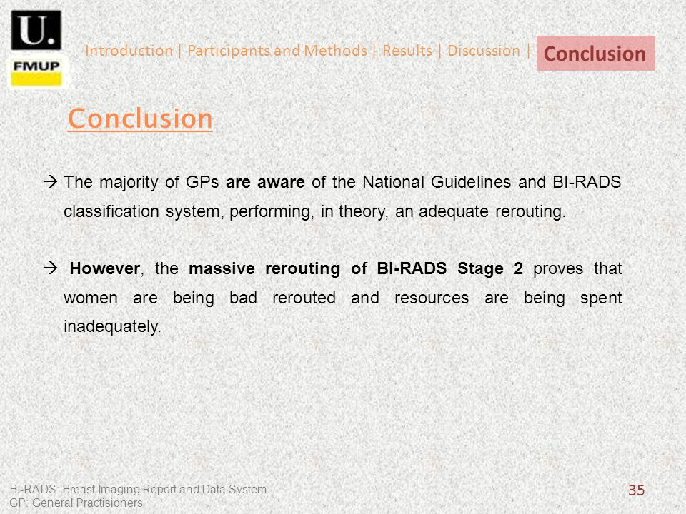 35 The majority of GPs are aware of the National Guidelines and BI-RADS classification system, performing, in theory, an adequate rerouting.