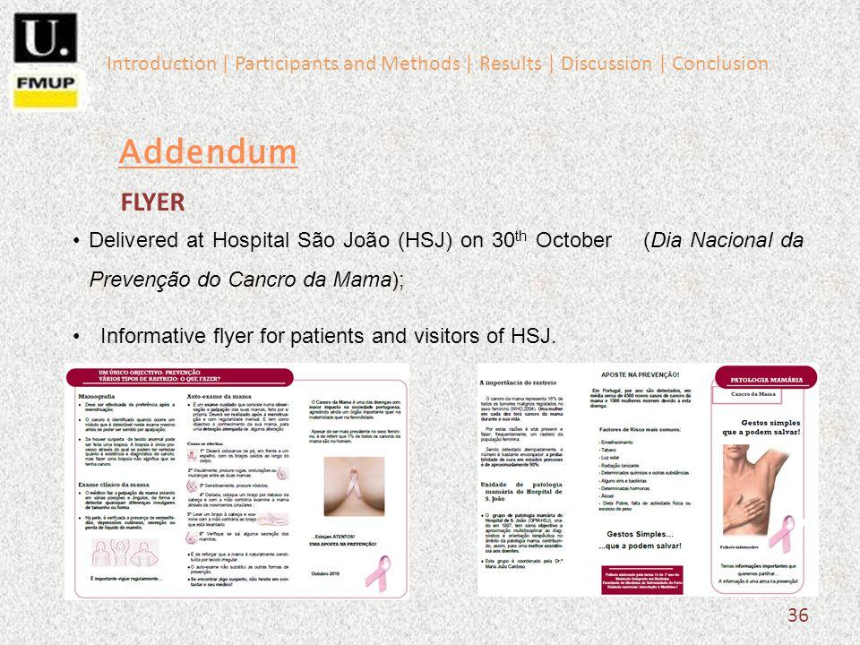 36 Addendum Delivered at Hospital São João (HSJ) on 30 th October (Dia Nacional da Prevenção do Cancro da Mama); Informative flyer for patients and visitors of HSJ.