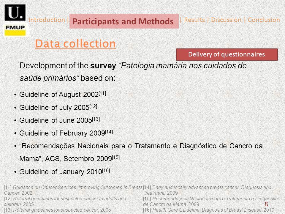 8 Data collection Development of the survey Patologia mamária nos cuidados de saúde primários based on: Guideline of August 2002 [11] Guideline of Jul