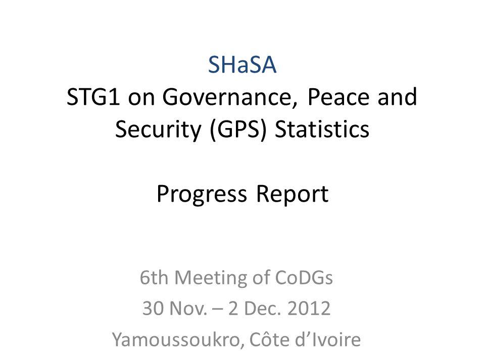 6th Meeting of CoDGs 30 Nov. – 2 Dec.