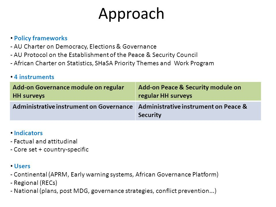 Approach Policy frameworks - AU Charter on Democracy, Elections & Governance - AU Protocol on the Establishment of the Peace & Security Council - African Charter on Statistics, SHaSA Priority Themes and Work Program 4 instruments Indicators - Factual and attitudinal - Core set + country-specific Users - Continental (APRM, Early warning systems, African Governance Platform) - Regional (RECs) - National (plans, post MDG, governance strategies, conflict prevention...) Add-on Governance module on regular HH surveys Add-on Peace & Security module on regular HH surveys Administrative instrument on GovernanceAdministrative instrument on Peace & Security