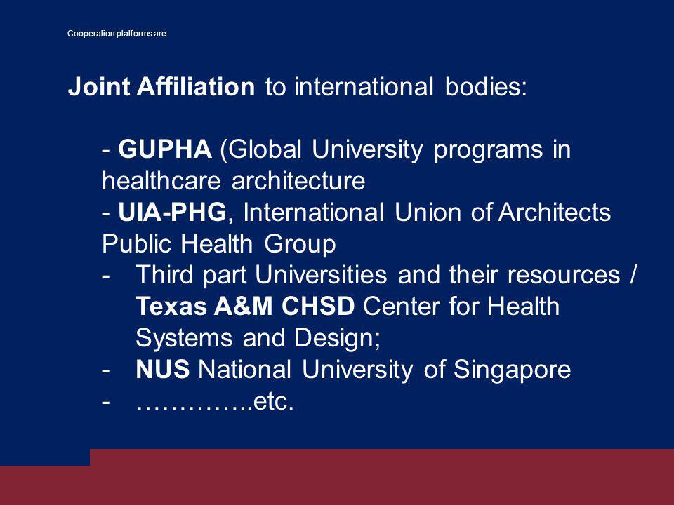 Cooperation platforms are: Joint Affiliation to international bodies: - GUPHA (Global University programs in healthcare architecture - UIA-PHG, International Union of Architects Public Health Group -Third part Universities and their resources / Texas A&M CHSD Center for Health Systems and Design; -NUS National University of Singapore -…………..etc.