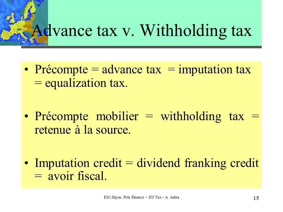 15 ESC-Dijon- Pole Finance – EU Tax – A. Ashta 15 Advance tax v.