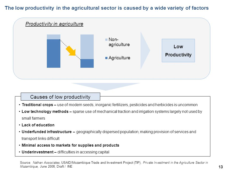 Productivity in agriculture The low productivity in the agricultural sector is caused by a wide variety of factors 13 Low Productivity Traditional crops – use of modern seeds, inorganic fertilizers, pesticides and herbicides is uncommon Low technology methods – sparse use of mechanical traction and irrigation systems largely not used by small farmers Lack of education Underfunded infrastructure – geographically dispersed population, making provision of services and transport links difficult Minimal access to markets for supplies and products Underinvestment – difficulties in accessing capital Causes of low productivity Source: Nathan Associates, USAID/Mozambique Trade and Investment Project (TIP), Private Investment in the Agriculture Sector in Mozambique, June 2008, Draft / INE
