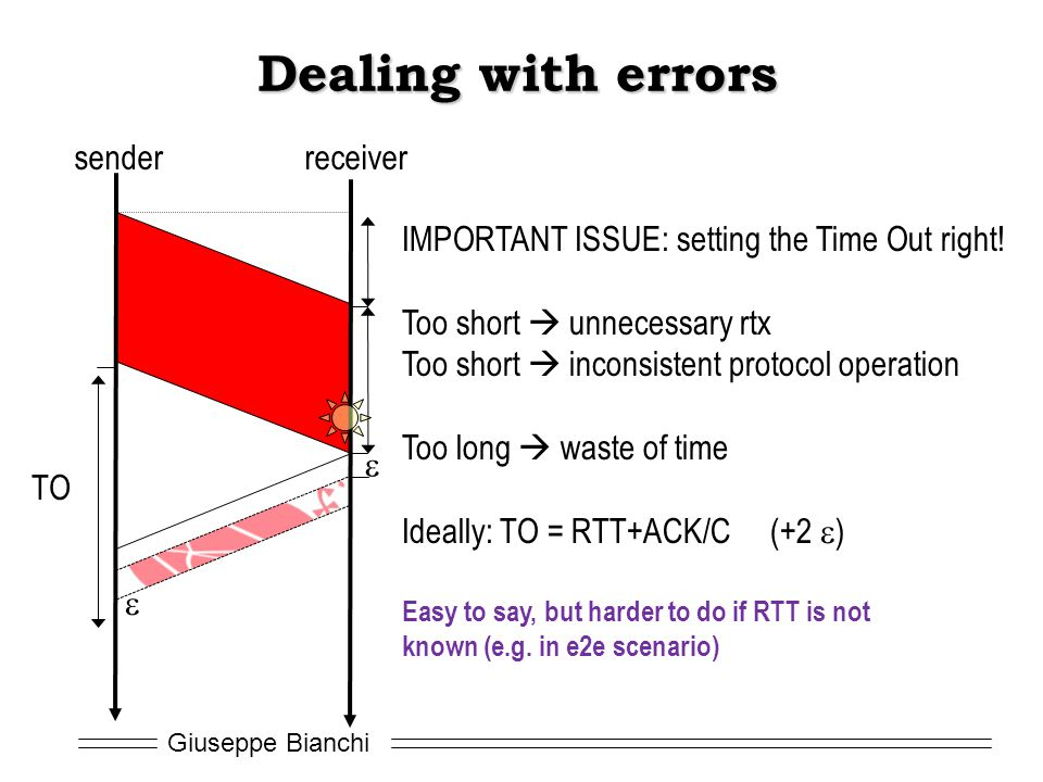 Giuseppe Bianchi Dealing with errors TO senderreceiver IMPORTANT ISSUE: setting the Time Out right! Too short unnecessary rtx Too short inconsistent p