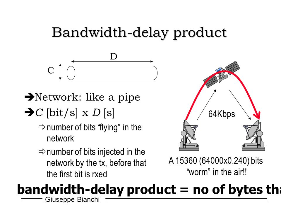 Giuseppe Bianchi Bandwidth-delay product Network: like a pipe C [bit/s] x D [s] number of bits flying in the network number of bits injected in the ne
