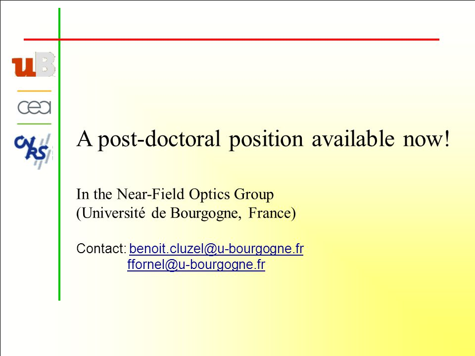 A post-doctoral position available now.