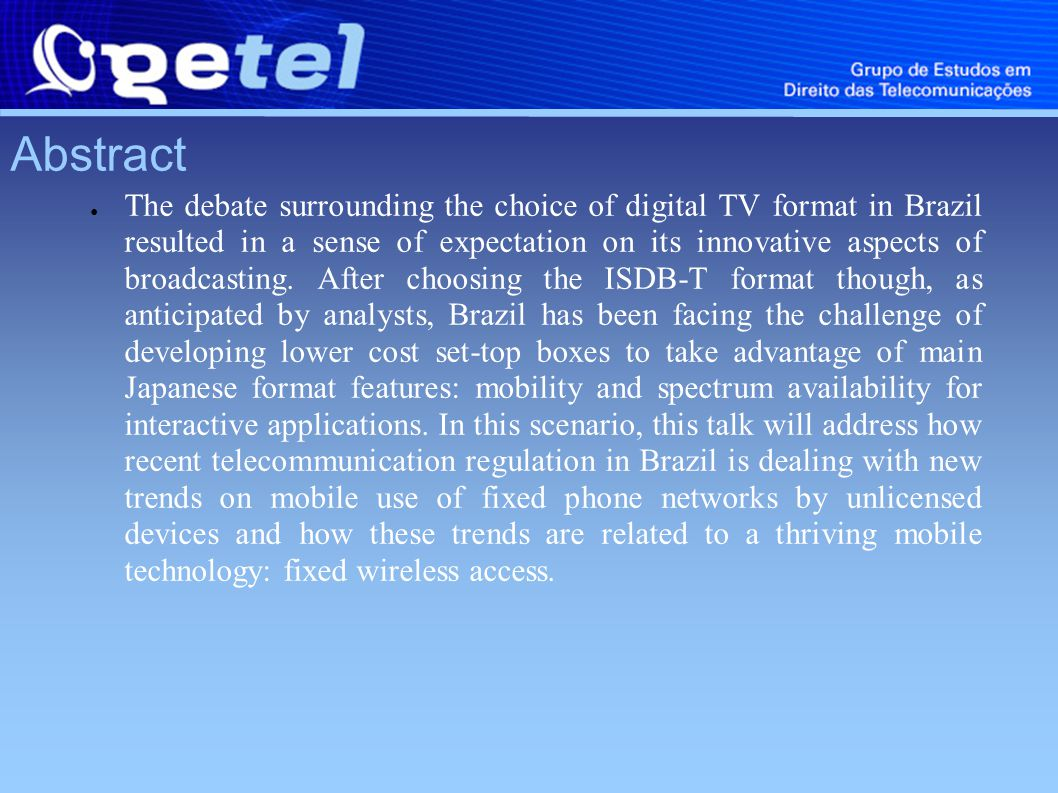 Abstract The debate surrounding the choice of digital TV format in Brazil resulted in a sense of expectation on its innovative aspects of broadcasting.