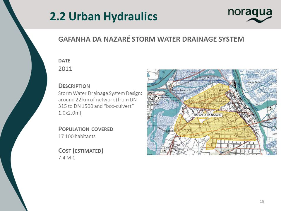 2.2 Urban Hydraulics 19 GAFANHA DA NAZARÉ STORM WATER DRAINAGE SYSTEM DATE 2011 D ESCRIPTION Storm Water Drainage System Design: around 22 km of network (from DN 315 to DN 1500 and box-culvert 1.0x2.0m) P OPULATION COVERED 17 100 habitants C OST ( ESTIMATED ) 7.4 M