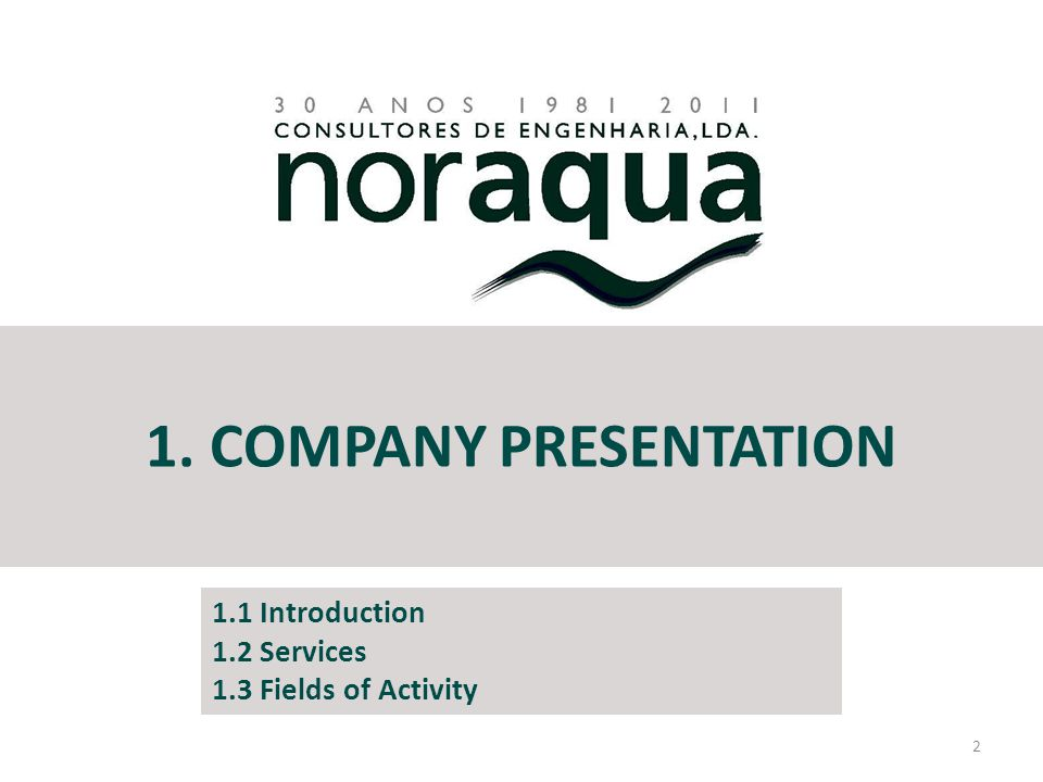 1. COMPANY PRESENTATION 2 1.1 Introduction 1.2 Services 1.3 Fields of Activity