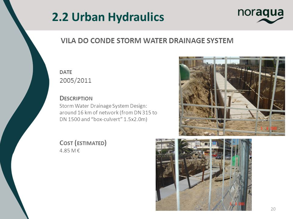 2.2 Urban Hydraulics 20 VILA DO CONDE STORM WATER DRAINAGE SYSTEM DATE 2005/2011 D ESCRIPTION Storm Water Drainage System Design: around 16 km of netw