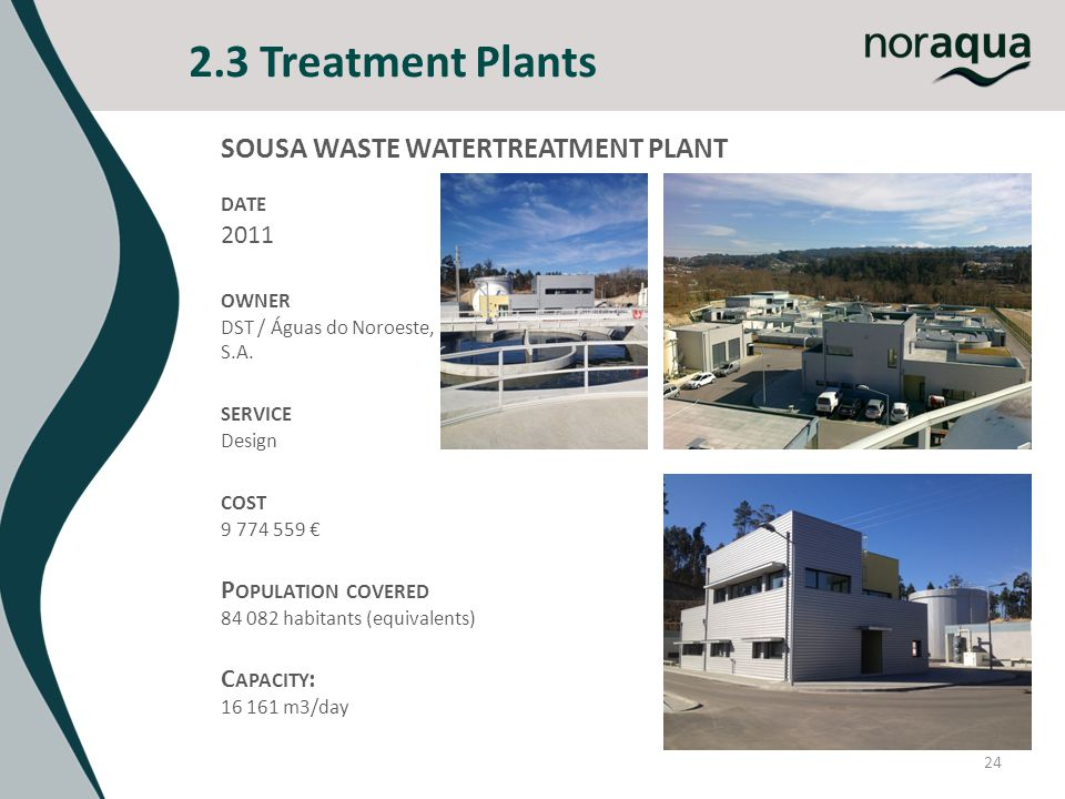 2.3 Treatment Plants 24 SOUSA WASTE WATERTREATMENT PLANT DATE 2011 OWNER DST / Águas do Noroeste, S.A. SERVICE Design COST 9 774 559 P OPULATION COVER