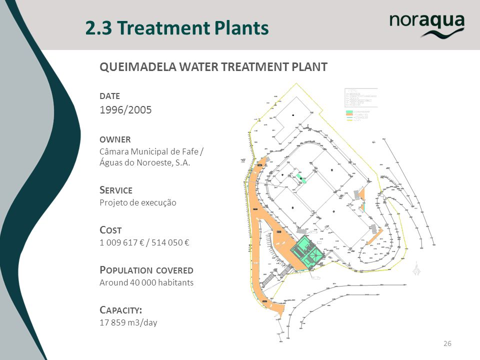 2.3 Treatment Plants 26 QUEIMADELA WATER TREATMENT PLANT DATE 1996/2005 OWNER Câmara Municipal de Fafe / Águas do Noroeste, S.A. S ERVICE Projeto de e