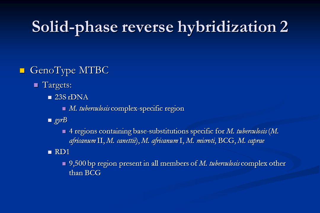 Solid-phase reverse hybridization 1 INNO LiPA INNO LiPA Target: ITS Target: ITS Probes for: Probes for: Mycobacterium genus Mycobacterium genus 2 complexes 2 complexes 15 (+1) species 15 (+1) species Intraspecific differentiation of 3 species Intraspecific differentiation of 3 species GenoType Target: 23S rDNA Probes for: Mycobacterium genus .